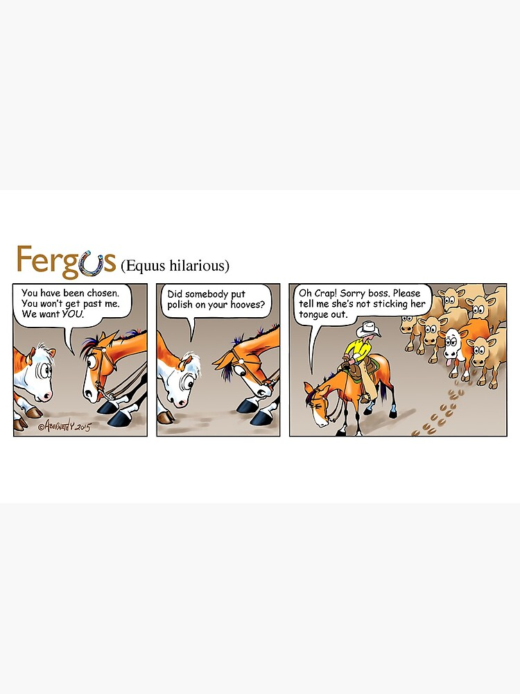 """Fergus the Horse: """"Sneaky Cow"""" Comic Strip by JeanAbernethy"""
