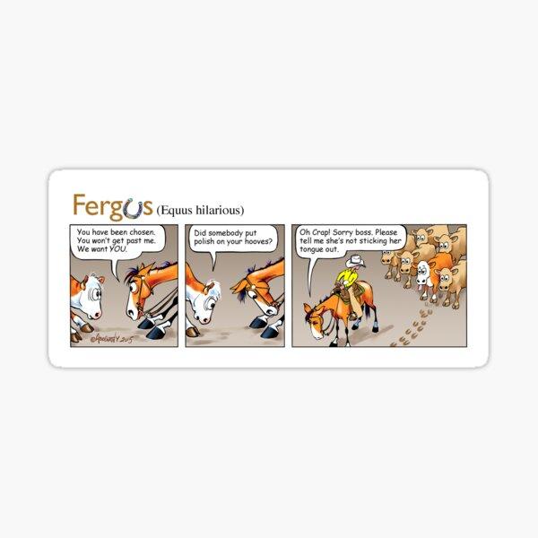 "Fergus the Horse: ""Sneaky Cow"" Comic Strip Sticker"
