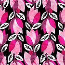 Textured Bold Pink Floral Black Background by daniteal