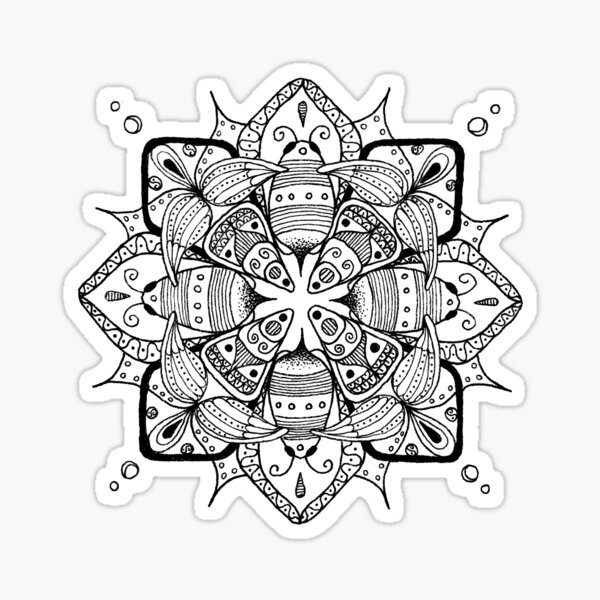 Bees - black and white Sticker