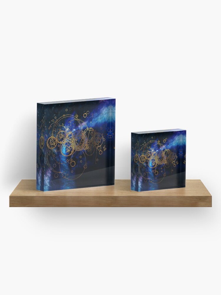 Alternate view of Time Lord Writing (blue) Acrylic Block