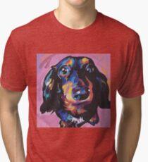 Camiseta de tejido mixto Dachshund Dog Bright colorful pop dog art