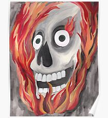 Skull with Flames Poster