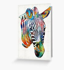 Colorful Zebra Face By Sharon Cummings Greeting Card