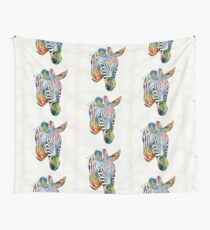 Colorful Zebra Face By Sharon Cummings Wall Tapestry