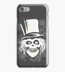 HATBOX GHOST WITH GRUNGY HAUNTED MANSION WALLPAPER iPhone Case/Skin