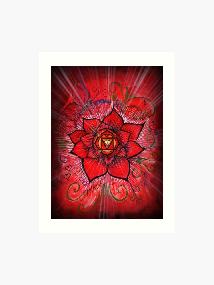 Root Chakra Red Lotus Flower Art Print By Bluemoonowl Redbubble