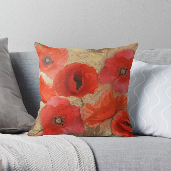 Red as poppies can be Throw Pillow