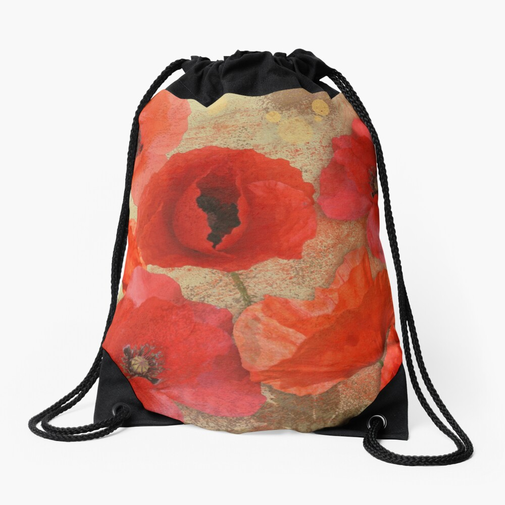 Red as poppies can be Drawstring Bag
