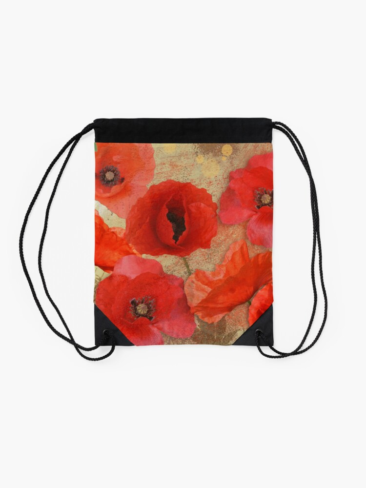 Alternate view of Red as poppies can be Drawstring Bag