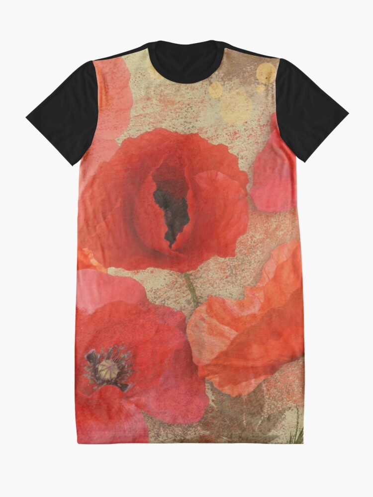 Alternate view of Red as poppies can be Graphic T-Shirt Dress