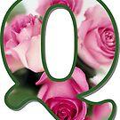 Letter Q Rose Monogram  by gretzky