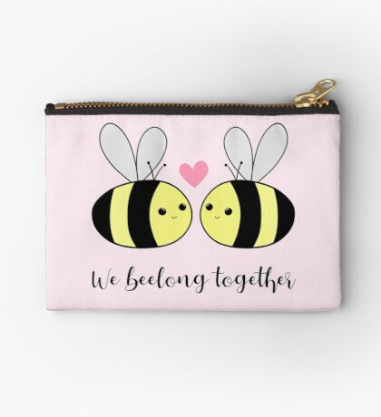 We BEElong together - Valentines Pun - Anniversary Pun - Bee Pun - We belong together - bees - bumble bees Zipper Pouch