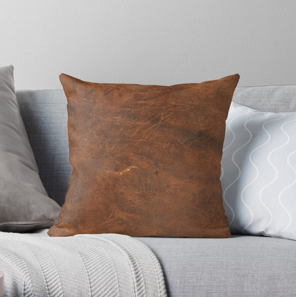 Old Tan Leather Texture | Cowhide Throw Pillow