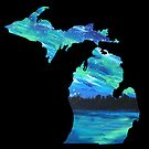 Painted Northern Lights - Mittenprints Michigan Love by mittenprints
