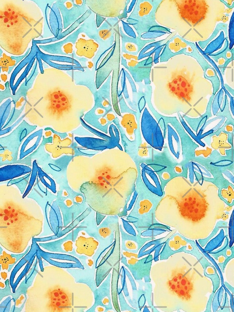Hand Painted Watercolor Floral Pattern - Trumpet Blues by annieparsons