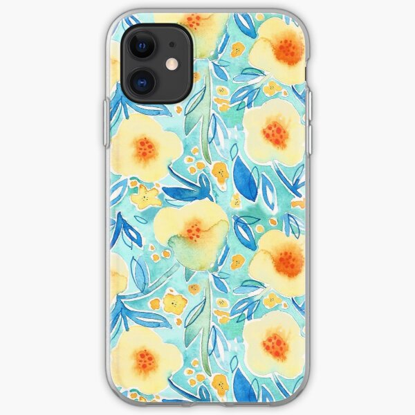 Hand Painted Watercolor Floral Pattern - Trumpet Blues iPhone Soft Case