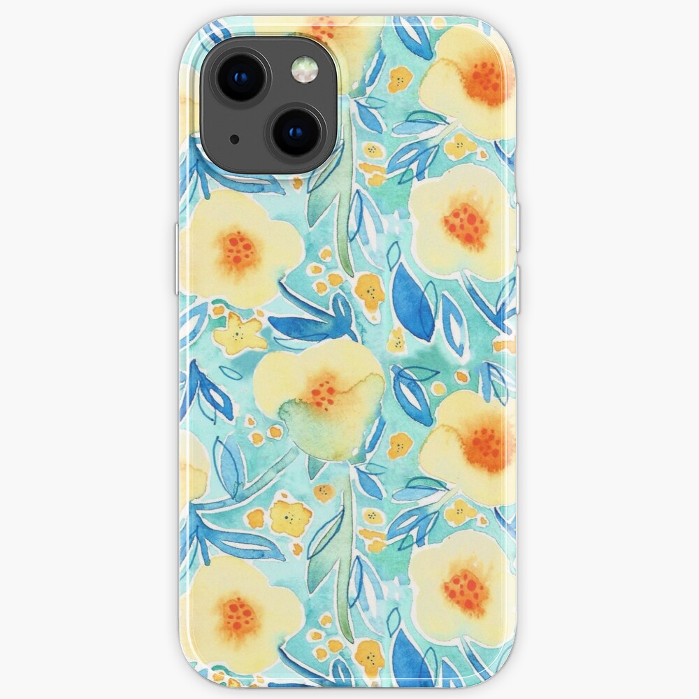 Hand Painted Watercolor Floral Pattern - Trumpet Blues iPhone Case