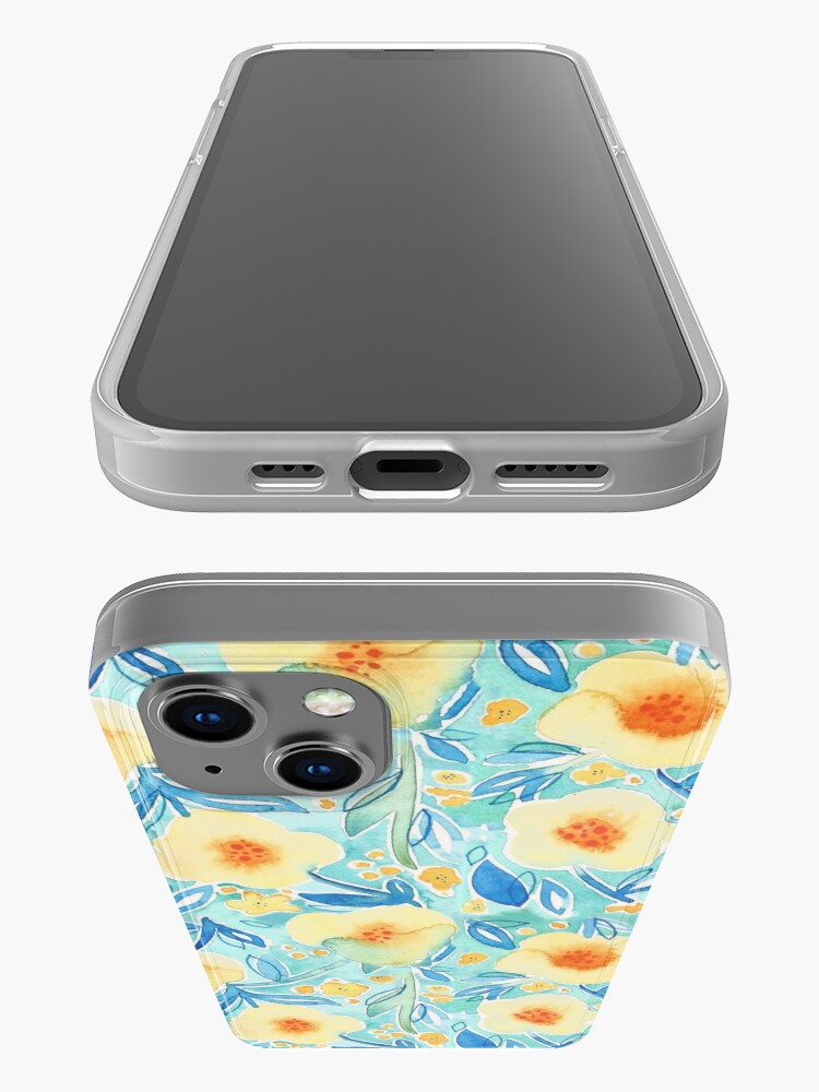 Alternate view of Hand Painted Watercolor Floral Pattern - Trumpet Blues iPhone Case