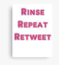 Iskybibblle Products Rinse Repeat Retweet Pink Canvas Print