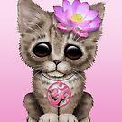 «Zen Baby Kitten con símbolo de Yoga rosa Om» de jeff bartels