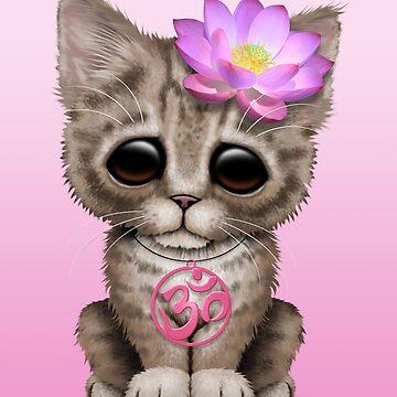 Zen Baby Kitten con símbolo de Yoga rosa Om de JeffBartels