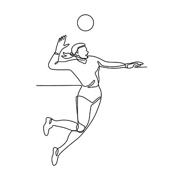 Volleyball Player Striking Ball Continuous Line by patrimonio