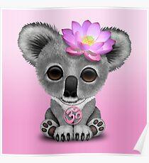 Zen Baby Koala with Pink Yoga Om Symbol Poster