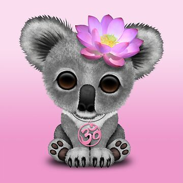 Zen Baby Koala con símbolo de yoga rosa Om de JeffBartels