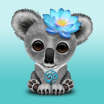 Zen Baby Koala con símbolo de yoga azul Om de JeffBartels