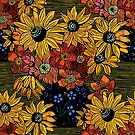 Sunflowers woodcut by printsisters