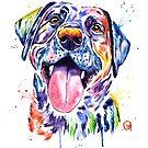 Black Lab Watercolor Pet Portrait Painting by Lisa Whitehouse
