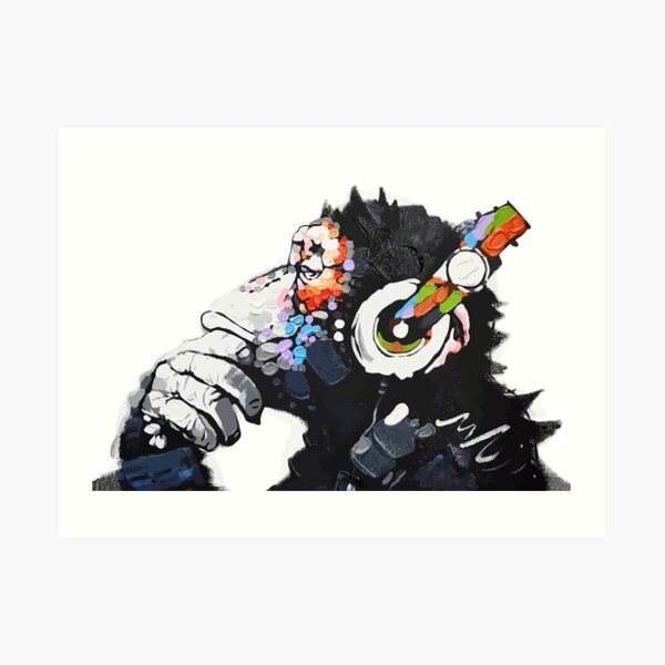 Banksy DJ Monkey Thinker with Headphones White Art Print