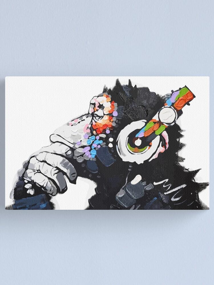 Alternate view of Banksy DJ Monkey Thinker with Headphones White Canvas Print