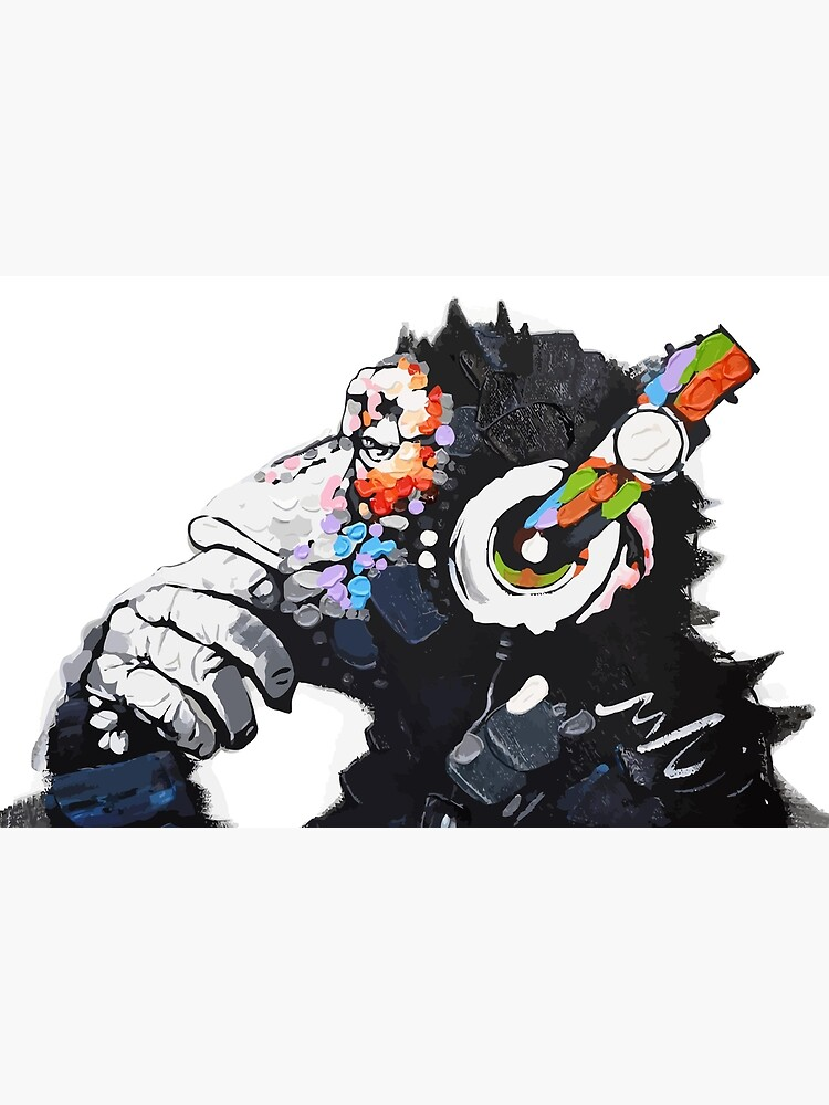 Banksy DJ Monkey Thinker with Headphones White by bufumofo