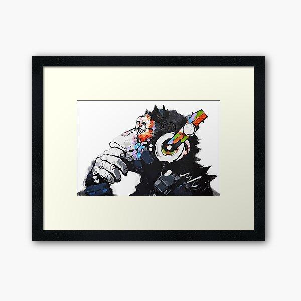 Banksy DJ Monkey Thinker with Headphones White Framed Art Print