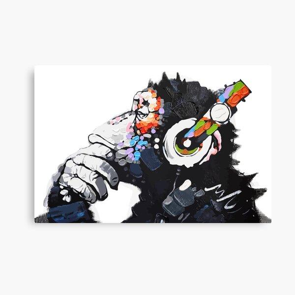 Banksy DJ Monkey Thinker with Headphones White Canvas Print