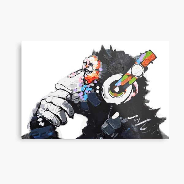 Banksy DJ Monkey Thinker with Headphones White Metal Print