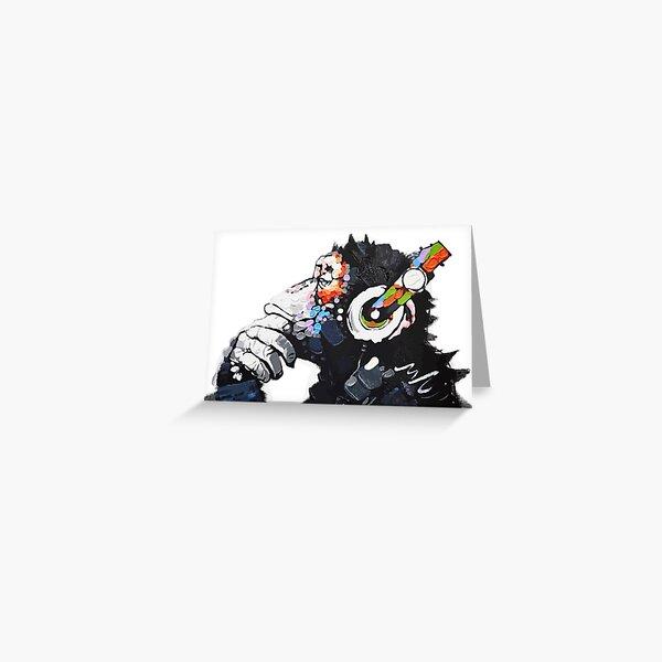 Banksy DJ Monkey Thinker with Headphones White Greeting Card