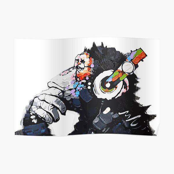 Banksy DJ Monkey Thinker con Auriculares Blanco Póster