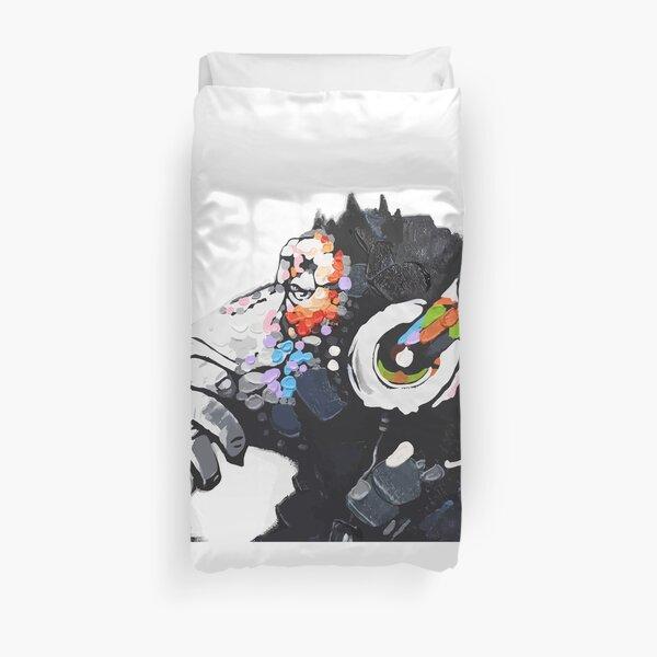 Banksy DJ Monkey Thinker with Headphones White Duvet Cover