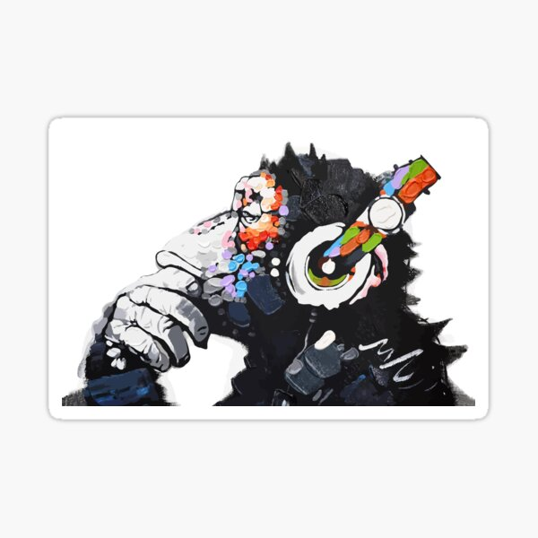 Banksy DJ Monkey Thinker with Headphones White Sticker