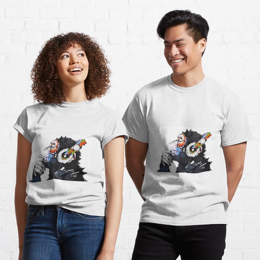 Banksy DJ Monkey Thinker with Headphones White Classic T-Shirt