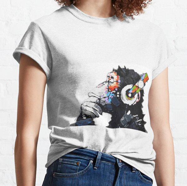 Banksy DJ Monkey Thinker with Headphones White Classic T-Shirt