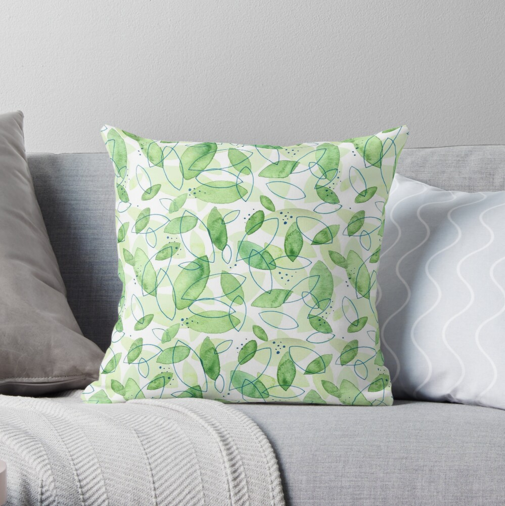 Hand Painted Watercolor Leaf Pattern - Content Mint Throw Pillow