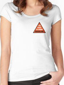 GASOLINE DANGER STICKER FOR BIKE Women's Fitted Scoop T-Shirt