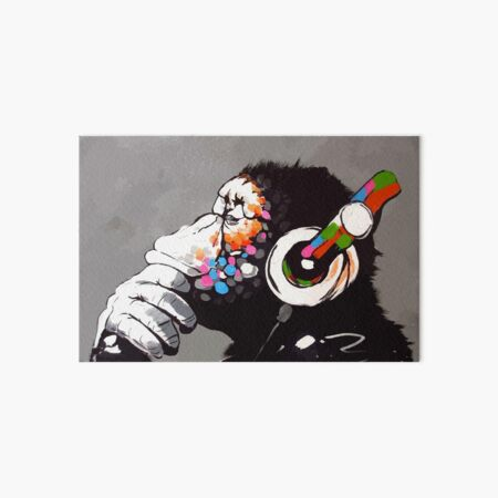Banksy DJ Monkey Thinker with Headphones Art Board Print