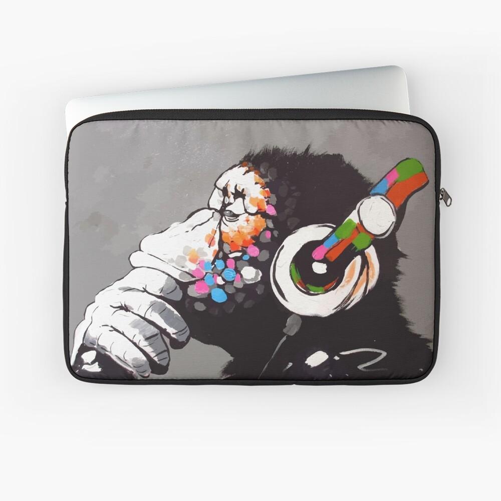 Banksy DJ Monkey Thinker with Headphones Laptop Sleeve