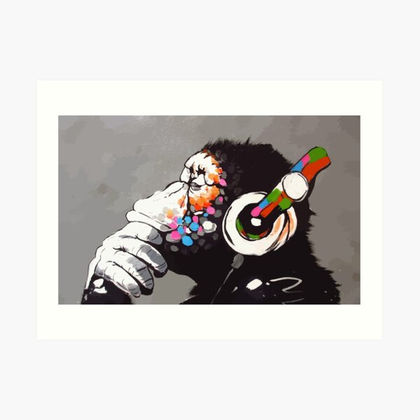 Banksy DJ Monkey Thinker with Headphones Art Print