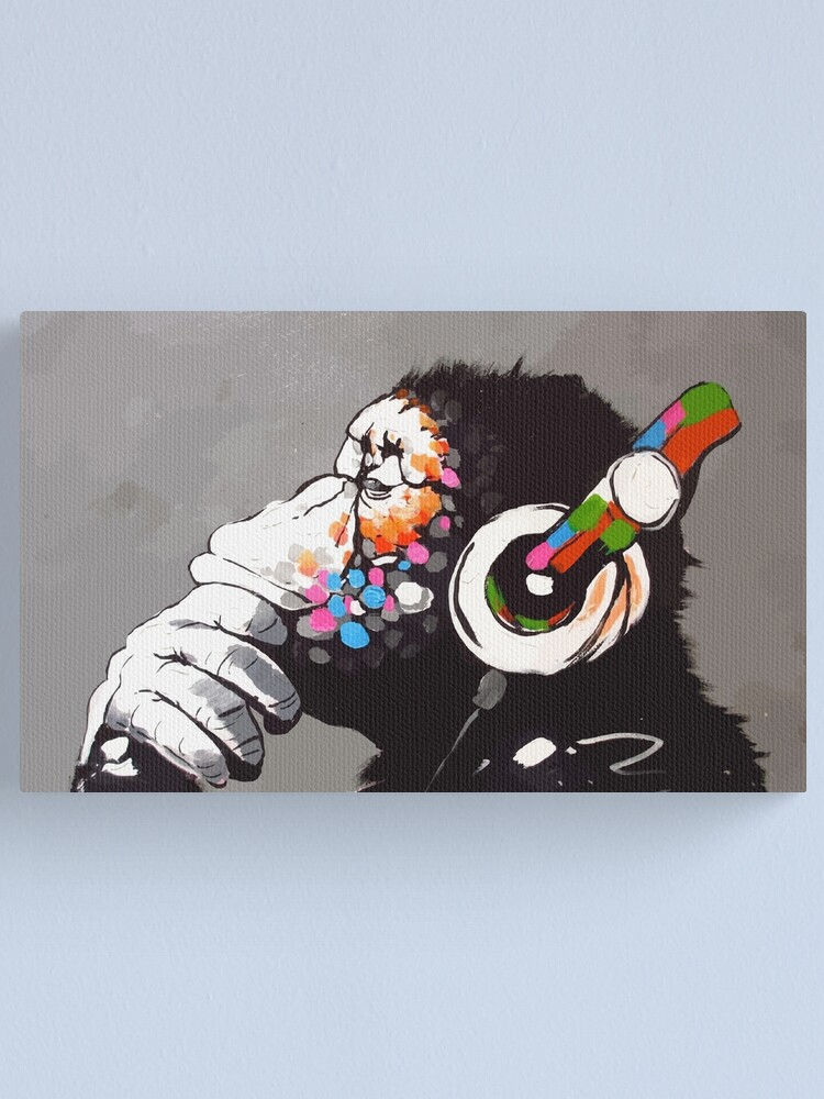 Alternate view of Banksy DJ Monkey Thinker with Headphones Canvas Print
